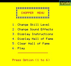 Menu screen of the game Chopper on Tangerine Computer Systems Oric