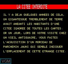 Menu screen of the game Citee Interdite, La on Tangerine Computer Systems Oric