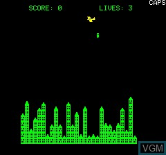 Menu screen of the game City Bomber on Tangerine Computer Systems Oric
