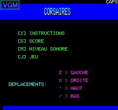 Menu screen of the game Corsaires on Tangerine Computer Systems Oric