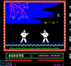 Menu screen of the game Karate on Tangerine Computer Systems Oric