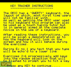 Menu screen of the game Keyboard Trainer on Tangerine Computer Systems Oric