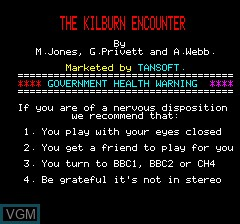 Menu screen of the game Kilburn Encounter, The on Tangerine Computer Systems Oric