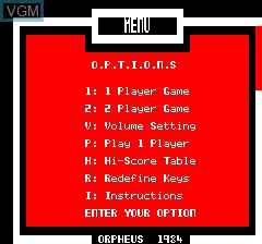 Menu screen of the game Krillys on Tangerine Computer Systems Oric