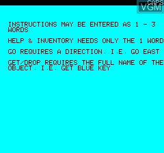 Menu screen of the game Leopard Lord on Tangerine Computer Systems Oric