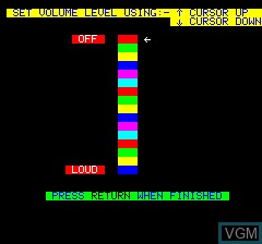Menu screen of the game Light Cycle on Tangerine Computer Systems Oric