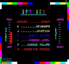 Menu screen of the game Lone Raider on Tangerine Computer Systems Oric