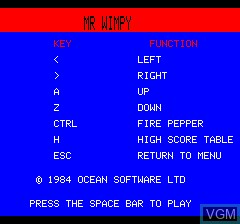 Menu screen of the game Mr. Wimpy on Tangerine Computer Systems Oric