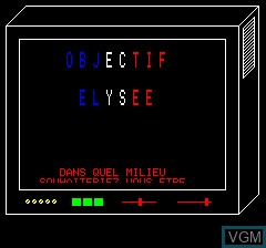 Menu screen of the game Objective Elysee on Tangerine Computer Systems Oric