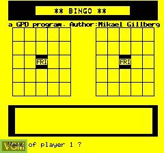 Menu screen of the game Oric Bingo on Tangerine Computer Systems Oric