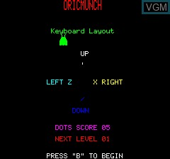 Menu screen of the game Oricmunch on Tangerine Computer Systems Oric