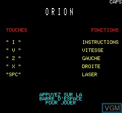 Menu screen of the game Orion on Tangerine Computer Systems Oric