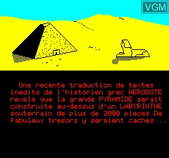 Menu screen of the game Masque D'or Du Pharaon, Le on Tangerine Computer Systems Oric