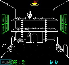 In-game screen of the game Cock' In on Tangerine Computer Systems Oric