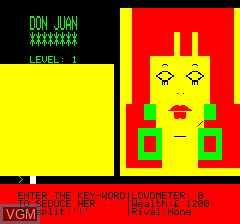 In-game screen of the game Don Juan on Tangerine Computer Systems Oric