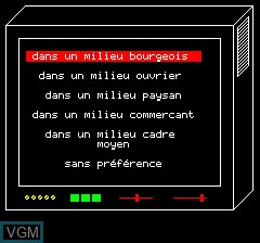 In-game screen of the game Objective Elysee on Tangerine Computer Systems Oric