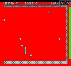 In-game screen of the game Oric Worm on Tangerine Computer Systems Oric