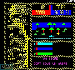 In-game screen of the game Africa on Tangerine Computer Systems Oric