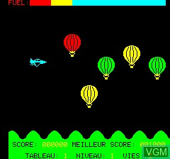 In-game screen of the game A.T.M - Air Terre Mer on Tangerine Computer Systems Oric
