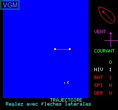 In-game screen of the game Challenge Voile on Tangerine Computer Systems Oric
