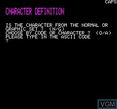 In-game screen of the game Character Define on Tangerine Computer Systems Oric