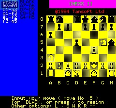 In-game screen of the game Chess II on Tangerine Computer Systems Oric