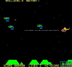 In-game screen of the game Chopper on Tangerine Computer Systems Oric