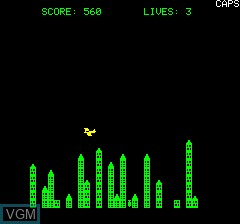 In-game screen of the game City Bomber on Tangerine Computer Systems Oric