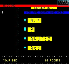 In-game screen of the game Contract Bridge on Tangerine Computer Systems Oric