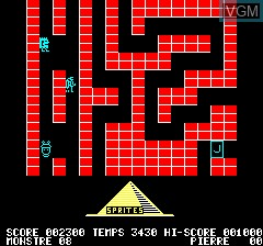 In-game screen of the game Diamant De Kheops, Le on Tangerine Computer Systems Oric