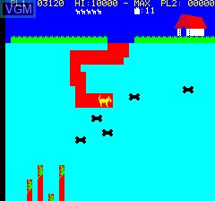 In-game screen of the game Dig Dog on Tangerine Computer Systems Oric