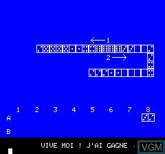 In-game screen of the game Domino on Tangerine Computer Systems Oric