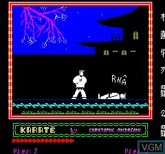 In-game screen of the game Karate on Tangerine Computer Systems Oric