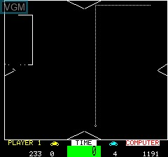 In-game screen of the game Light Cycle on Tangerine Computer Systems Oric