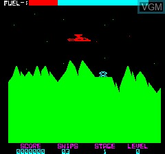 In-game screen of the game Lone Raider on Tangerine Computer Systems Oric
