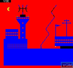 In-game screen of the game Mizar on Tangerine Computer Systems Oric