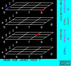 In-game screen of the game Morpion 3D on Tangerine Computer Systems Oric