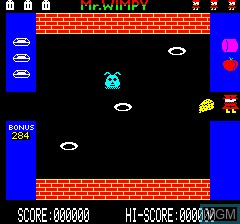 In-game screen of the game Mr. Wimpy on Tangerine Computer Systems Oric