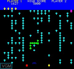 In-game screen of the game Mushroom Mania on Tangerine Computer Systems Oric