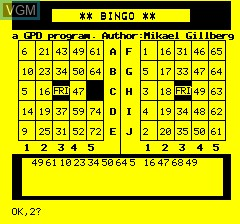 In-game screen of the game Oric Bingo on Tangerine Computer Systems Oric
