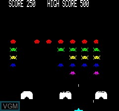 In-game screen of the game Oric Invaders on Tangerine Computer Systems Oric