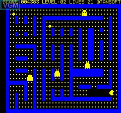 In-game screen of the game Oricmunch on Tangerine Computer Systems Oric