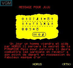 In-game screen of the game Masque D'or Du Pharaon, Le on Tangerine Computer Systems Oric