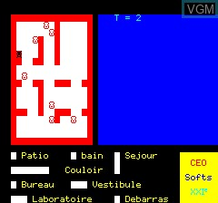 In-game screen of the game Meurtre Au Manoir on Tangerine Computer Systems Oric