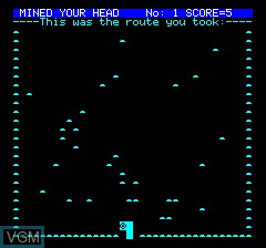 In-game screen of the game Mined Out V2 on Tangerine Computer Systems Oric
