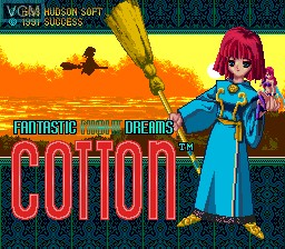 Title screen of the game Cotton - Fantastic Night Dreams on NEC PC Engine CD