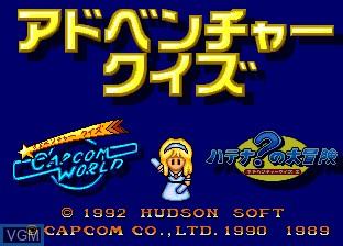 Title screen of the game Adventure Quiz - Capcom World & Hatena no Daibouken on NEC PC Engine CD