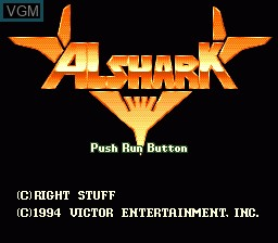 Title screen of the game Alshark on NEC PC Engine CD