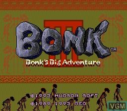 Title screen of the game Bonk III - Bonk's Big Adventure on NEC PC Engine CD
