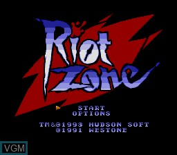 Title screen of the game Riot Zone on NEC PC Engine CD